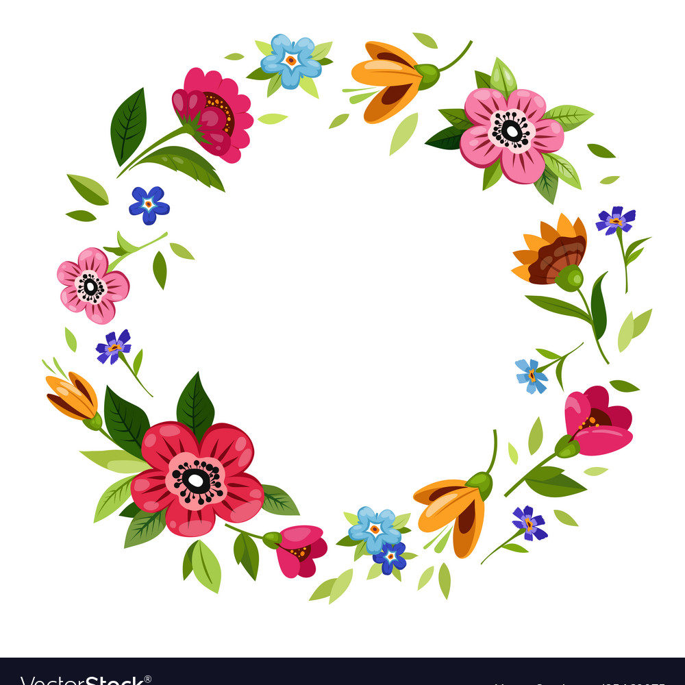Round flower frame for decoration of wedding invitations, greetings, birthday, Valentines Day, mother s day, t-shirt design. Colorful floral wreath with vector flowers, branches, buds, leaves.